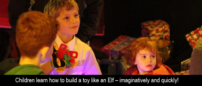 elf toy building family christmas event