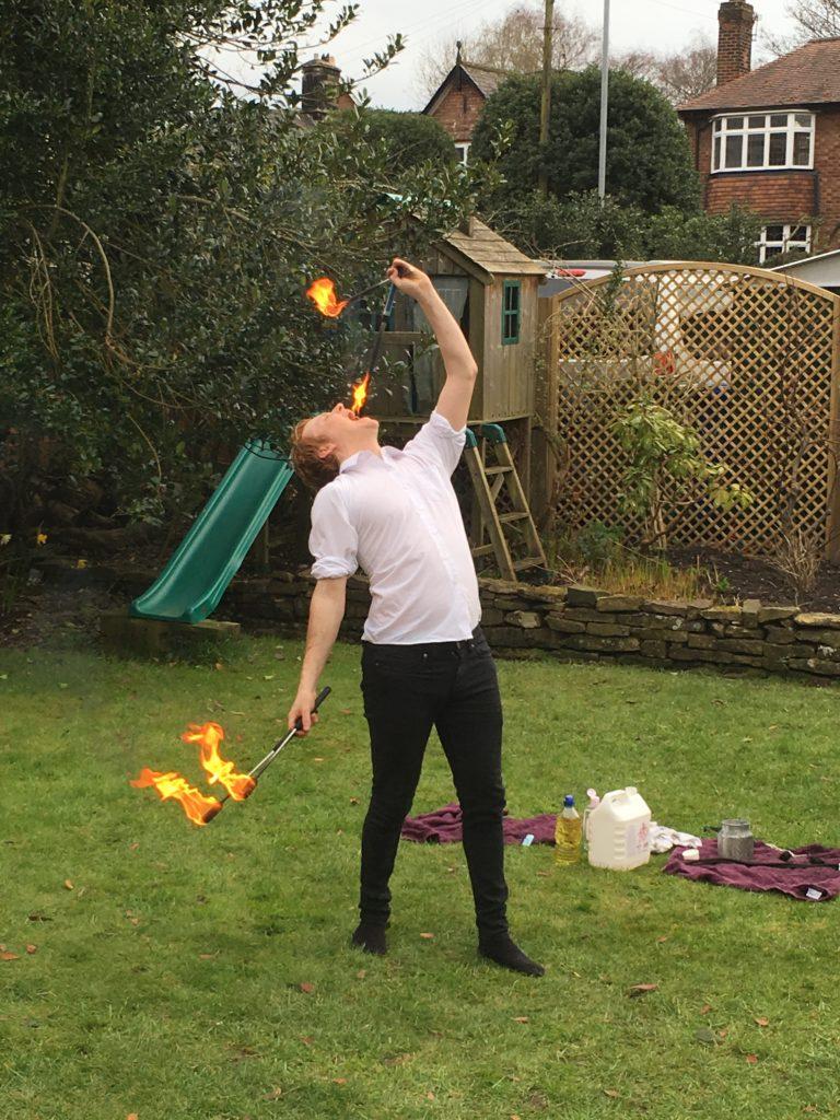 fire eating performer